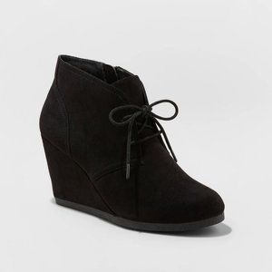 Microsuede Wedge Bootie Black Size 11 NWT